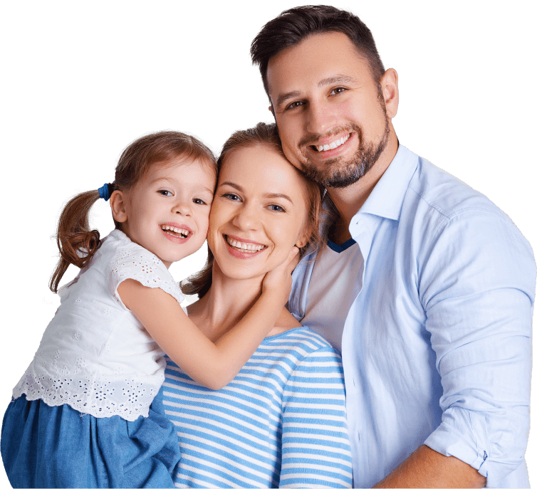 Happy family of three with healthy smiles
